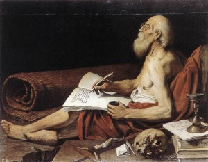 """St Jerome"", by Leonello Spada. Jerome really, really hated women. But he especially hated cunt. Pity."