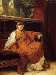 Lesbia. Victorian painting. She keeps her sparrow in her lap. Peep! Peep!