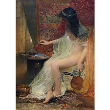 Painting of Lesbia and her sparrow by George Joy, a happy Victorian.