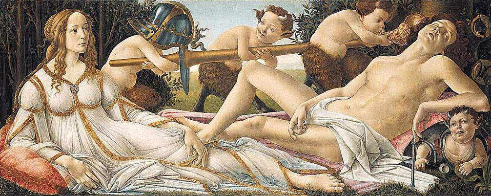 Venus and Mars, Botticelli. The war is fucked out of him, the lance is too heavy to lift, and her sweet little piece rains.