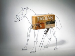 Trojan horse, with Trojans. And lubricated wire coathangers, apparently.