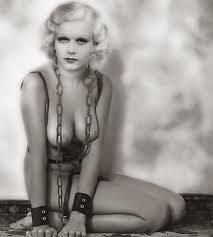 Jean Harlow, chained and cuffed, naked, in a photo set taken before she was a star.