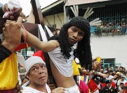 Crucifixion season in the Phillippines. More painful than Civil War re-enactments?