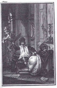 """Libertines at the altar. (Illustration from """"Therese Philosophe"""", 1748.)"""
