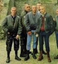 It's a very retro look, the skinhead thing. These are 1960s skins, but the guys who crashed the party dressed exactly the same. But they didn't listen to ska anymore; it was white power music for them.