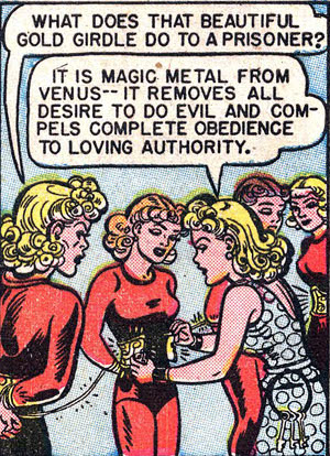 Complete obedience to loving authority. Ah, it must be Wonder Woman.