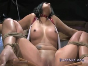 slave presenting herself to be licked